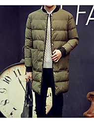 Men's Long Down Coat,Simple Going out / Casual/Daily Solid-Polyester Polyester / White Duck Down Long Sleeve Stand Blue / Green