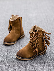 Girl's Boots Fall Winter Other Leather Casual Chunky Heel Tassel Black Brown