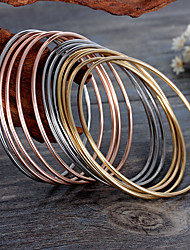 Kalen Multi-strand Jewelry 12pcs Tri-Color Silver Color Gold Rose Gold Plated Stainless Steel Bangles 66*2mm Bracelets For Girls Women Gifts