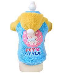 Dog Hoodie Blue Pink Dog Clothes Winter Spring/Fall Animal Cute Keep Warm