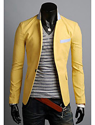 Men's Solid Casual Blazer,Cotton Long Sleeve-Blue / White / Yellow