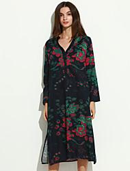 Mulheres Solto / Camisa Vestido,Casual Chinoiserie Floral Colarinho Chinês Médio Manga Longa Azul Algodão / Linho Outono