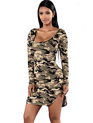 Women's Casual/Daily / Club Sexy / Street chic Bodycon DressCamouflage Round Neck Asymmetrical Long Sleeve Spring / Fall