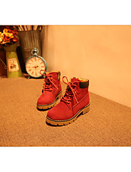 Girl's Oxfords Winter Others Cowhide Outdoor / Casual Low Heel Black / Brown / Red / Dark Green Others
