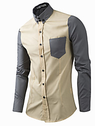 Men's Casual/Daily Simple Spring / Fall ShirtSolid / Patchwork Shirt Collar Long Sleeve Cotton Medium Hot Sale