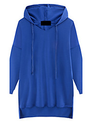 Fashion Large yards women Long sleeves Hooded In the long section Solid color Sweater