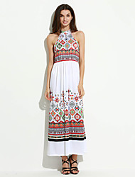 Women's Boho Beach Boho Sheath Dress,Print Halter Maxi Sleeveless White Polyester Summer