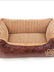 Cat / Dog Bed Pet Cushion & Pillows Breathable / Soft / Casual/Daily Khaki Fabric / Cotton / Leather
