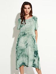 Women's Casual/Daily Vintage Loose Dress,Print Round Neck Midi Short Sleeve Blue / Green Cotton / Linen Summer