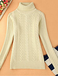 Women's Casual/Daily Simple Short Pullover,Solid White Turtleneck Long Sleeve Cotton Fall Medium Micro-elastic