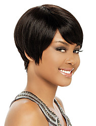 Women Bob Short Straight Natural Black Synthetic Wig Side Bang Heat Resistant Cheap Cosplay Wigs Hair