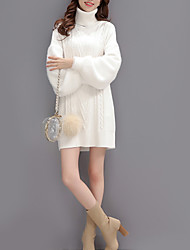 Women's Going out / Casual/Daily Sexy / Simple / Street chic Sweater Dress,Solid Turtleneck Knee-length Long Sleeve White CottonFall /