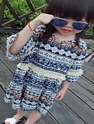 Girl's Casual/Daily Geometric Dress,Cotton Summer Half Sleeve
