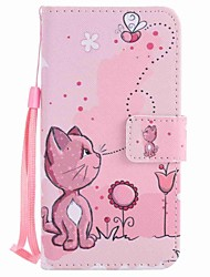 For Motorola G4 Play G4 Case Cover Cats and Bees Painted Lanyard PU Phone Case