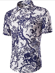 Men's Casual/Daily Simple Summer Shirt,Floral Classic Collar Short Sleeves Linen Thin