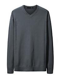 Men's Casual/Daily Simple Long Cardigan,Solid Blue V Neck Long Sleeve Rayon Winter Medium Micro-elastic