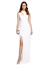 TS Couture Prom Formal Evening Dress - Sexy Celebrity Style Sheath / Column Jewel Floor-length Stretch Satin with Split Front