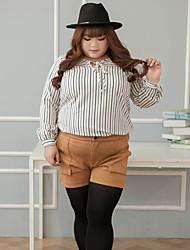 Femme Grandes Tailles Droite Shorts Pantalon,Vintage Décontracté / Quotidien Couleur Pleine Taille Haute fermeture Éclair Cotonnon