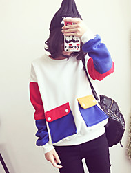 Women's Casual/Daily Active Street chic Sweatshirt Color Block Patchwork Round Neck Fleece Lining Micro-elastic Polyester Long SleeveFall