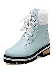 Women's Boots Spring Fall Winter Comfort Ankle Strap PU Fur Office & Career Casual Athletic Chunky Heel Lace-up Black Blue Pink Beige