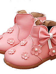 Girl's Baby Boots Fall Winter Comfort Pigskin Outdoor Casual Flat Heel Bowknot Pink White Walking