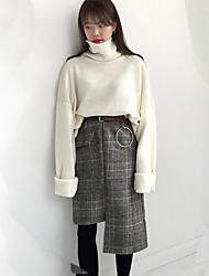 cru poche plaid asymétrique paquet jupes taille haute robe de la hanche au comptant à deux couleurs