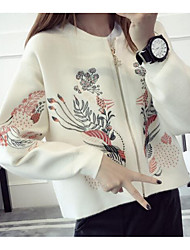 Men's Casual/Daily / Holiday Cute Short Cardigan,Embroidered White / Black / Gray / Purple Round Neck Long Sleeve Acrylic Fall / Winter