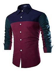 Men's Going out Simple Shirt,Color Block Square Neck Long Sleeve Blue / Red Cotton Medium