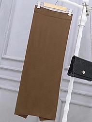 Облегающий силуэт Подол,Женский ОднотонныйСо стандартной талией Сексуальные платья Midi Вечеринка/коктейль Хлопок Эластичность