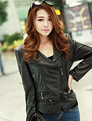 Women's Going out Simple Fall Leather Jackets,Solid Stand Long Sleeve Blue / Black Others Medium