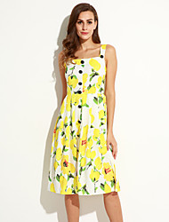 Women's Casual/Daily Sophisticated A Line Dress,Floral Strap Midi Sleeveless Yellow Polyester Summer