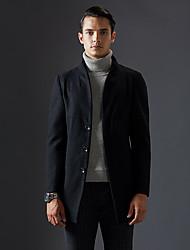 Masculino Casaco Casual Simples Inverno, Sólido Azul / Preto / Cinza Lã Colarinho Chinês-Manga Longa Grossa