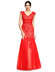 TS Couture Formal Evening Dress - Open Back Fit & Flare V-neck Floor-length Tulle with Appliques Beading