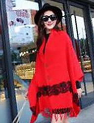 Damen Standard Mantel / Capes-Ausgehen Urlaub Street Schick Anspruchsvoll Solide Rot Schwarz Grau Asymmetrisch Ärmellos WolleFrühling