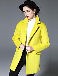 KENAYA Women's Casual/Daily Simple CoatSolid Notch Lapel Long Sleeve Fall / Winter Yellow Wool