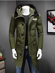 Men's Down Coat,Simple Casual/Daily Solid-Nylon White Duck Down Long Sleeve Black / Green