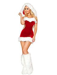 Fantasias de Cosplay Ternos de Papai Noel Festival/Celebração Trajes da Noite das Bruxas Patchwork Vestido / Aquecedores de Pernas Natal