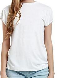Damen Geometrisch Einfach Ausgehen T-shirt,Rundhalsausschnitt Kurzarm Weiß / Schwarz Baumwolle