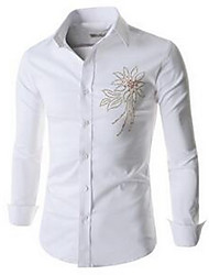 Men's Going out Simple Shirt,Print Square Neck Long Sleeve White / Black Cotton