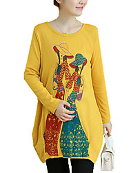 Gravidez Camiseta Casual estilo antigo Primavera / Outono,Estampado Cinza / Amarelo Algodão / Poliéster / Elastano Decote RedondoManga