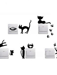Animaux Stickers muraux Stickers avion Stickers muraux décoratifs / Stickers d'interrupteurs,Vinyle Matériel Décoration d'intérieurWall