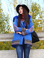 Our Story Women's Padded CoatBoho Plus Size / Casual/Daily Embroidered-Polyester Polyester  Sleeve Hooded Blue