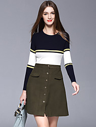 Dreamy Land Women's Casual/Daily Simple Set SkirtStriped Round Neck Long Sleeve Blue / Green Cotton