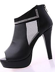 Damen-High Heels-Lässig-PU-Stöckelabsatz-Komfort-Schwarz / Weiß