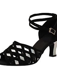 Sapatos de Dança(Preto) -Feminino-Personalizável-Latina / Jazz / Salsa / Sapatos de Swing