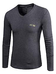 Tee-shirt Hommes,Couleur Pleine Sortie / Décontracté / Quotidien Vintage / simple / Chinoiserie Eté / Automne Manches Longues Col en V