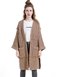 Damen Lang Strickjacke-Lässig/Alltäglich Urlaub Einfach Solide Braun V-Ausschnitt Langarm Wolle Baumwolle Polyester Winter Dick