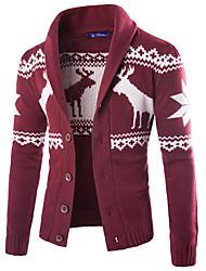 Masculino Padrão Carregam,Casual Simples Estampa Colorida Azul Vermelho Preto Cinza Colarinho de Camisa Manga Longa Lã Primavera Outono