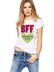 Tee-shirt Femme,Couleur Pleine Imprimé Plage Sortie simple Actif Eté Manches Courtes Col Arrondi Coton Moyen