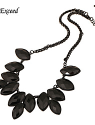 Women's Vintage Geometric Multi-faceted Rhombus Black Resin Statement Necklace Bohemian NL140114